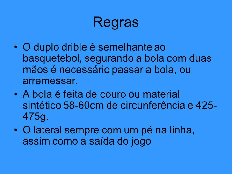 Regras O duplo drible é semelhante ao basquetebol, segurando a bola com duas mãos é necessário passar a bola, ou arremessar.