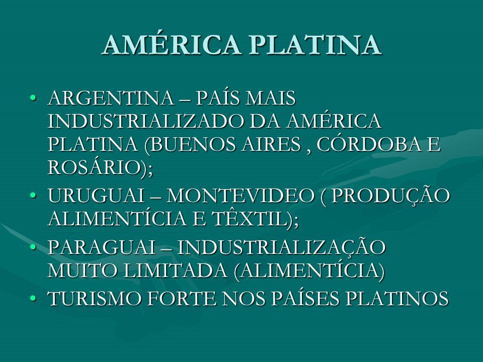 AMÉRICA PLATINA ARGENTINA – PAÍS MAIS INDUSTRIALIZADO DA AMÉRICA PLATINA (BUENOS AIRES , CÓRDOBA E ROSÁRIO);