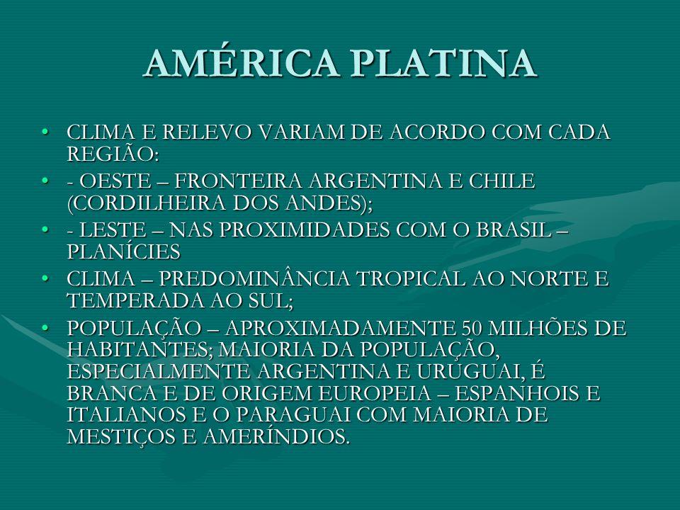 AMÉRICA PLATINA CLIMA E RELEVO VARIAM DE ACORDO COM CADA REGIÃO: