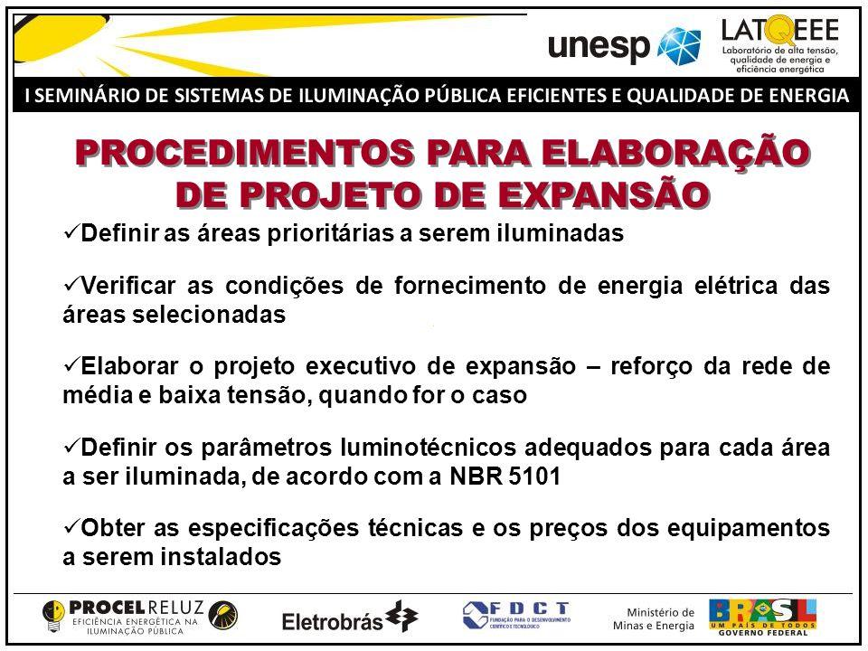 PROCEDIMENTOS PARA ELABORAÇÃO DE PROJETO DE EXPANSÃO