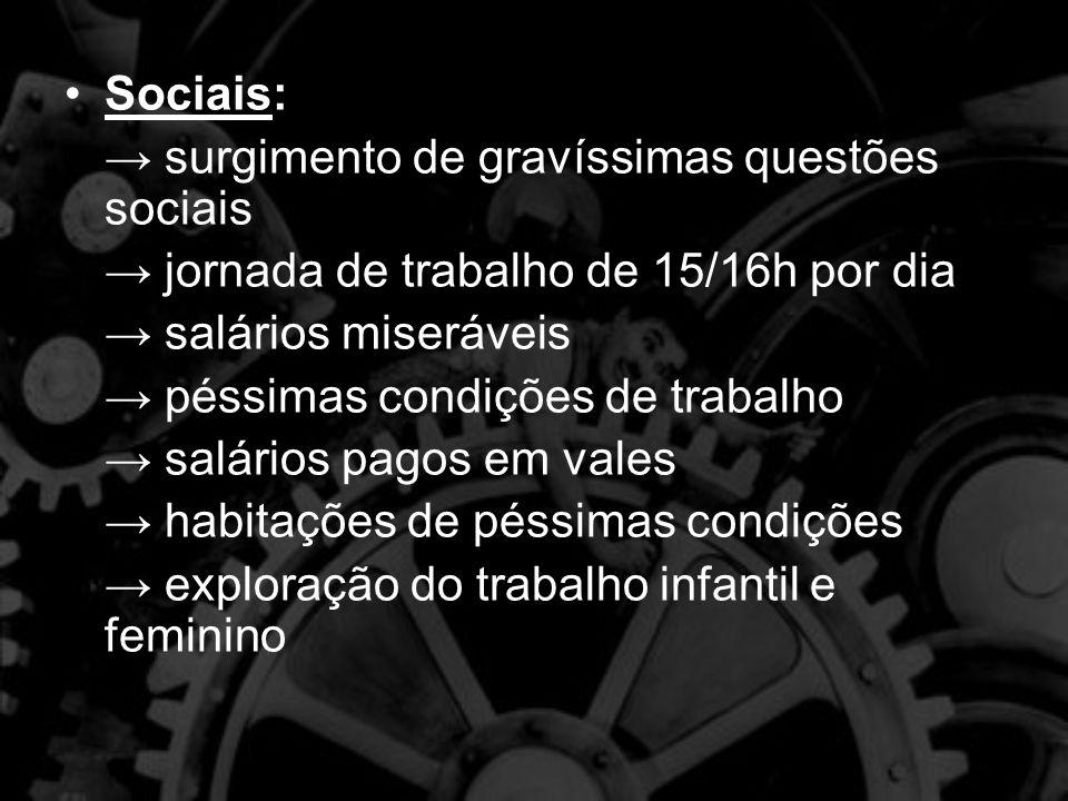 Sociais: → surgimento de gravíssimas questões sociais. → jornada de trabalho de 15/16h por dia. → salários miseráveis.