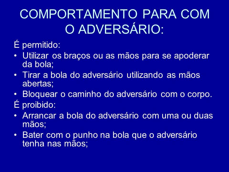 COMPORTAMENTO PARA COM O ADVERSÁRIO: