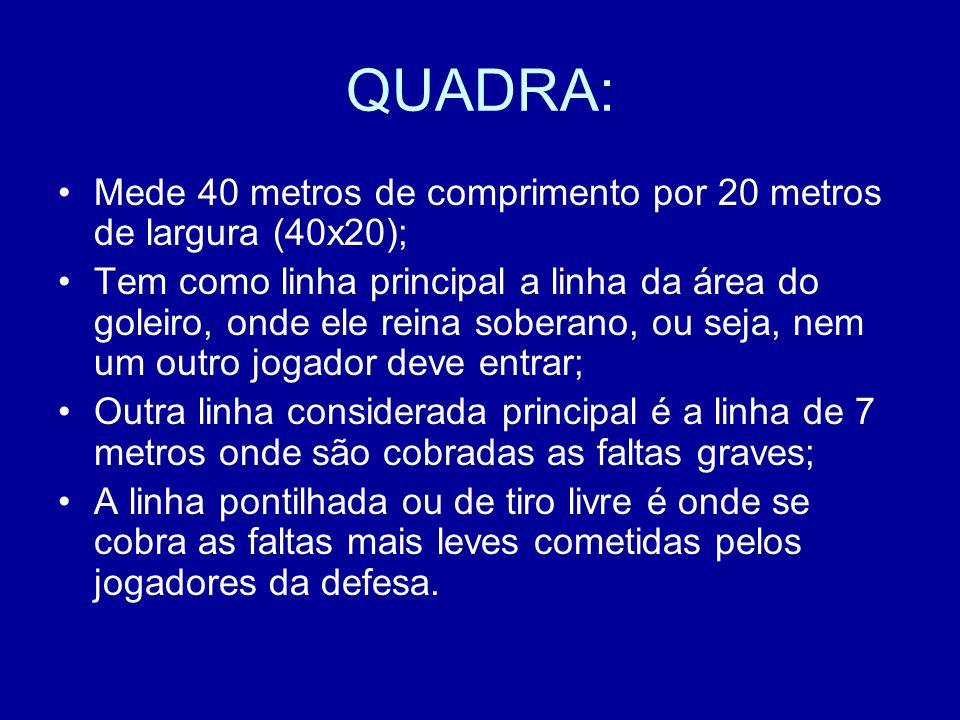 QUADRA: Mede 40 metros de comprimento por 20 metros de largura (40x20);