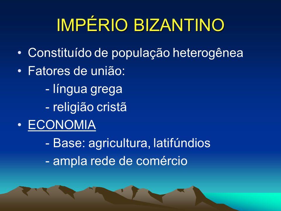 IMPÉRIO BIZANTINO Constituído de população heterogênea