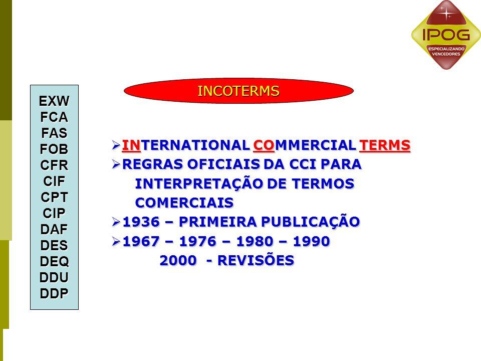 INCOTERMS EXW. FCA. FAS. FOB. CFR. CIF. CPT. CIP. DAF. DES. DEQ. DDU. DDP. INTERNATIONAL COMMERCIAL TERMS.