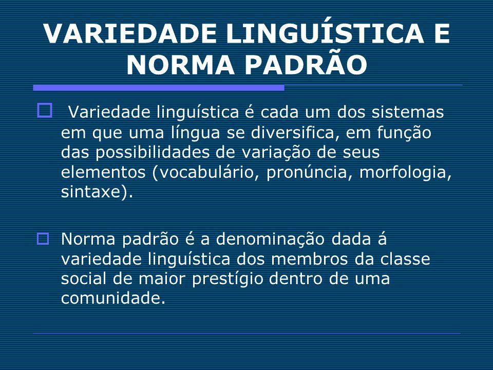 VARIEDADE LINGUÍSTICA E NORMA PADRÃO