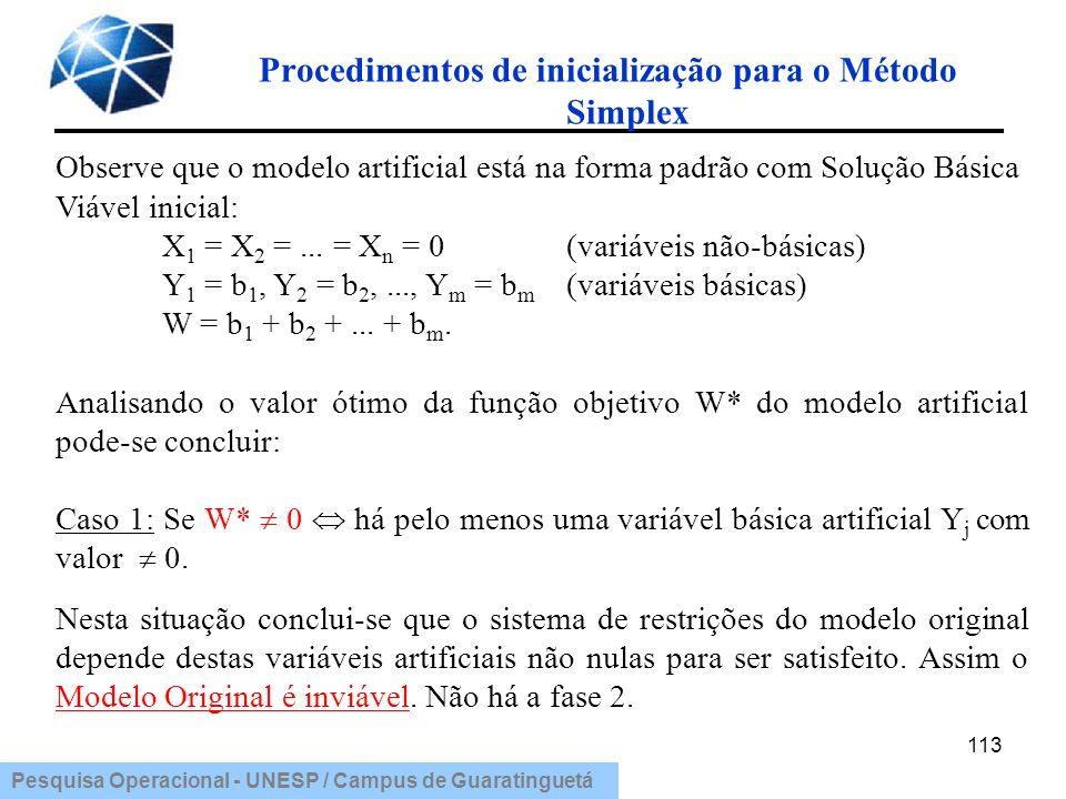 Procedimentos de inicialização para o Método Simplex
