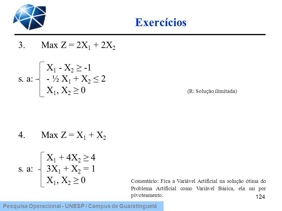 Exercícios 3. Max Z = 2X1 + 2X2 X1 - X2 ≥ -1 s. a: - ½ X1 + X2 ≤ 2
