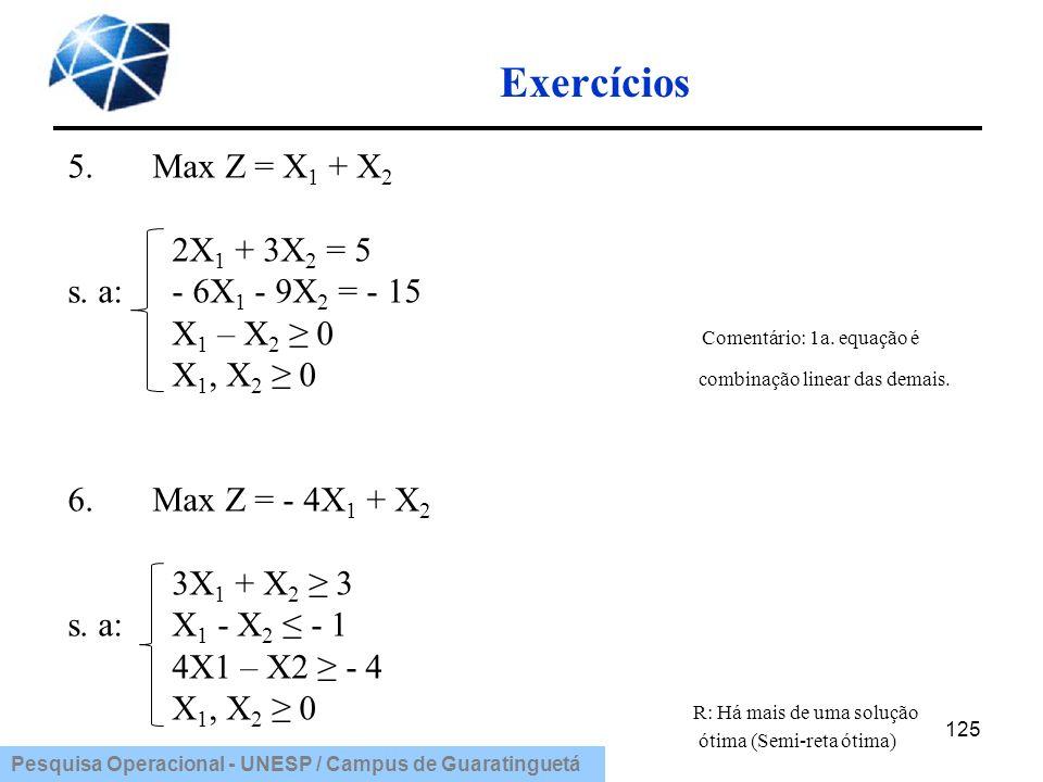 Exercícios 5. Max Z = X1 + X2 2X1 + 3X2 = 5 s. a: - 6X1 - 9X2 = - 15