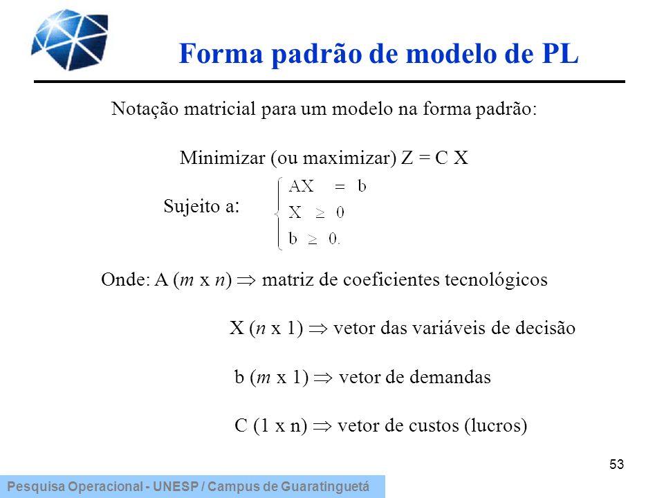 Forma padrão de modelo de PL