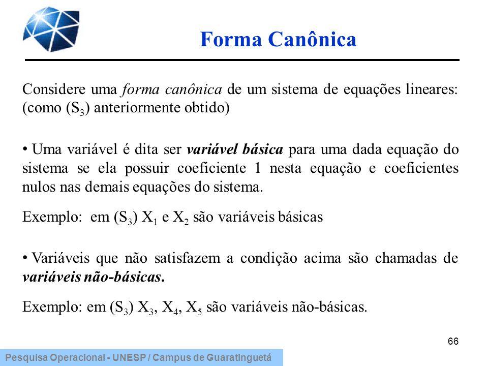 Forma Canônica Considere uma forma canônica de um sistema de equações lineares: (como (S3) anteriormente obtido)