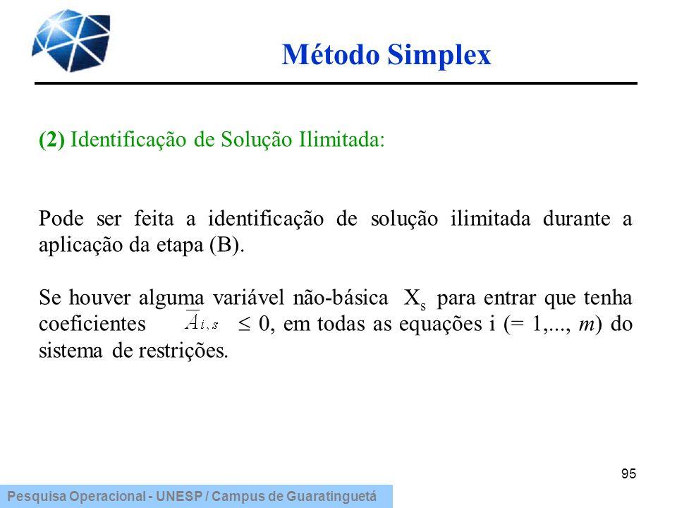 Método Simplex (2) Identificação de Solução Ilimitada: