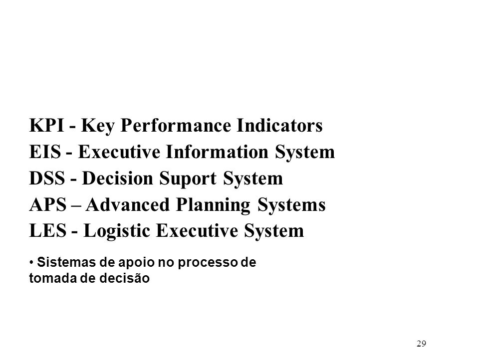 KPI - Key Performance Indicators EIS - Executive Information System