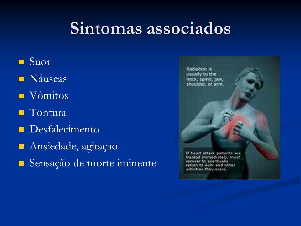 Sintomas associados Suor Náuseas Vômitos Tontura Desfalecimento