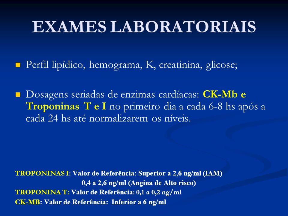 EXAMES LABORATORIAISPerfil lipídico, hemograma, K, creatinina, glicose;