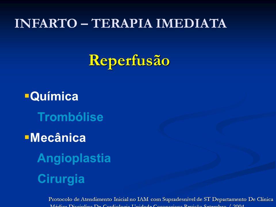 Reperfusão INFARTO – TERAPIA IMEDIATA Química Trombólise Mecânica