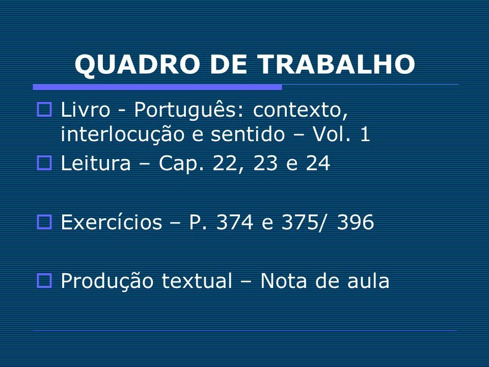 QUADRO DE TRABALHO Livro - Português: contexto, interlocução e sentido – Vol. 1. Leitura – Cap. 22, 23 e 24.
