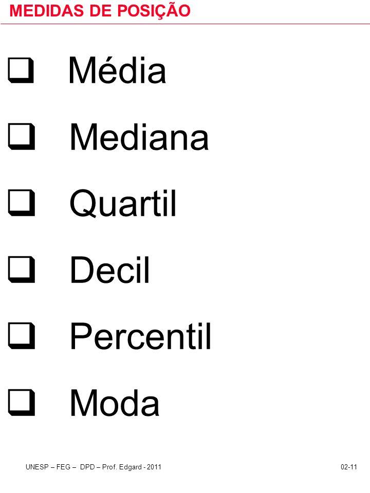 MEDIDAS DE POSIÇÃO Média Mediana Quartil Decil Percentil Moda