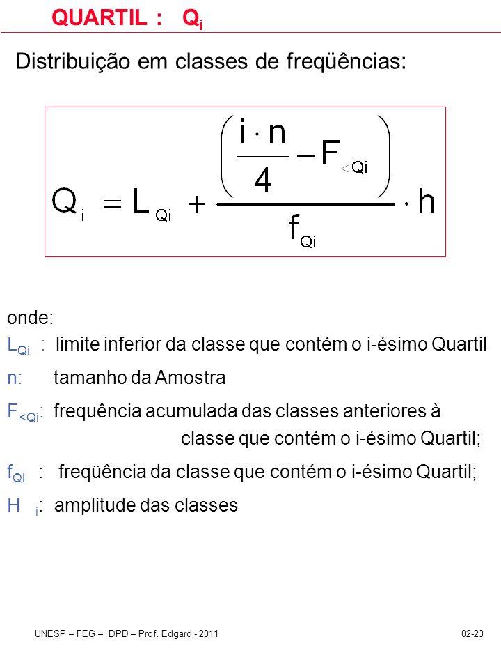 Distribuição em classes de freqüências: