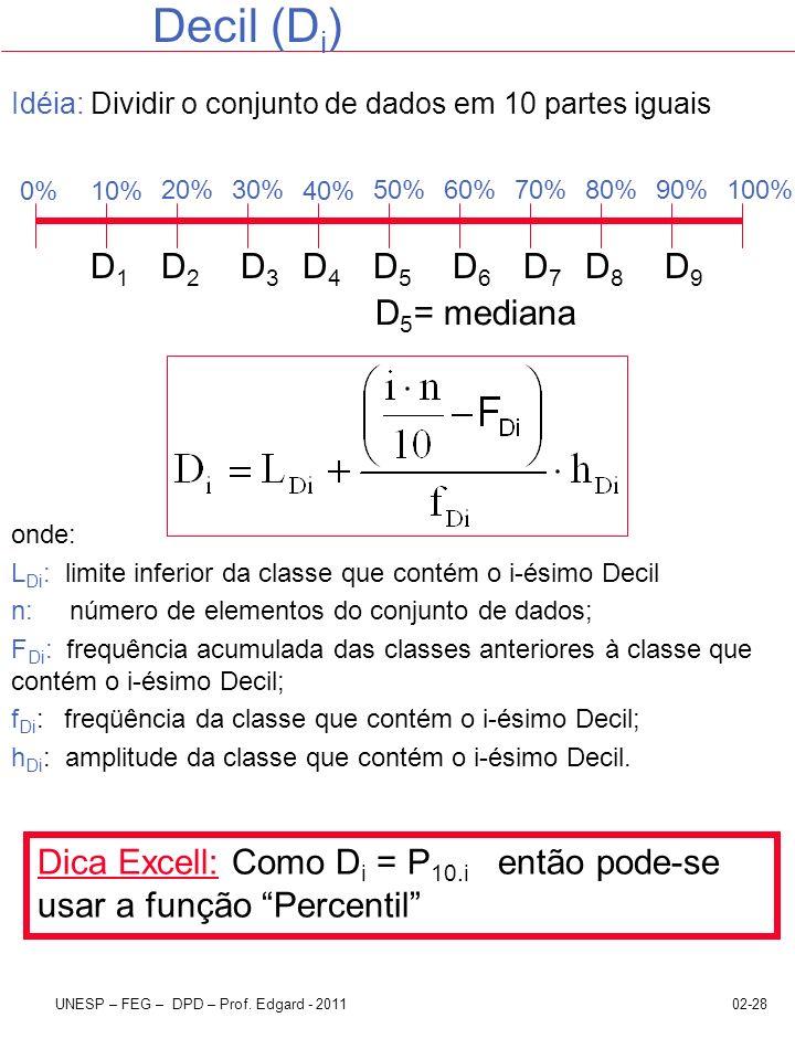 Decil (Di) D1 D2 D3 D4 D5 D6 D7 D8 D9 D5= mediana