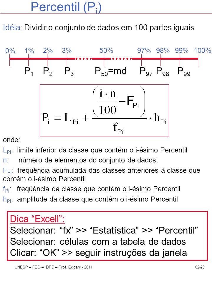 Percentil (Pi) P1 P2 P3 P50=md P97 P98 P99 Dica Excell :