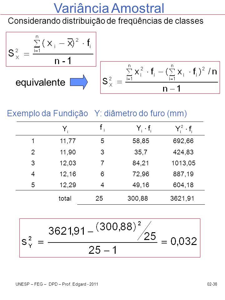 Considerando distribuição de freqüências de classes