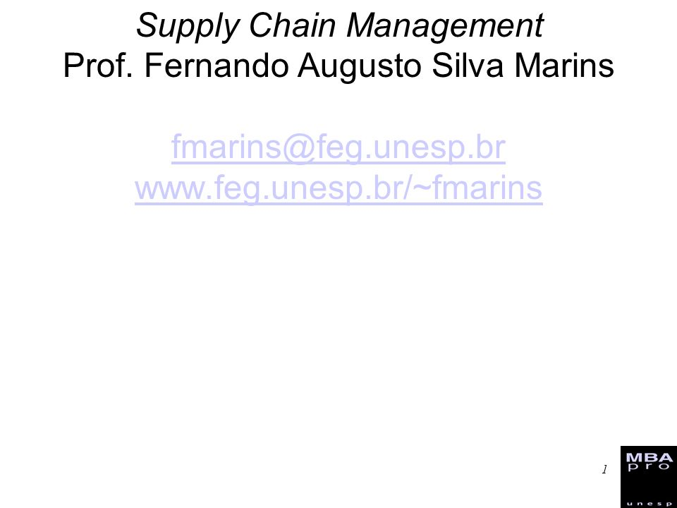 Supply Chain Management Prof.