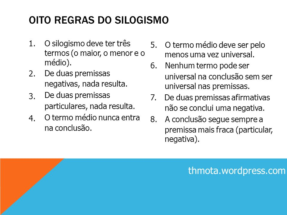 OITO REGRAS DO SILOGISMO