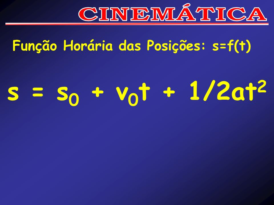 CINEMÁTICA Função Horária das Posições: s=f(t) s = s0 + v0t + 1/2at2