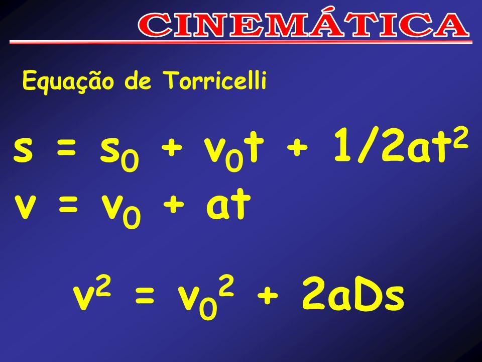 s = s0 + v0t + 1/2at2 v = v0 + at v2 = v02 + 2aDs CINEMÁTICA