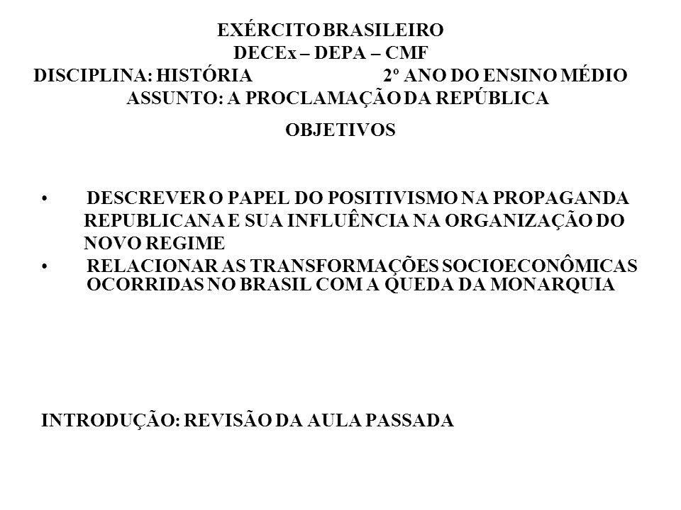 EXÉRCITO BRASILEIRO DECEx – DEPA – CMF DISCIPLINA: HISTÓRIA 2º ANO DO ENSINO MÉDIO ASSUNTO: A PROCLAMAÇÃO DA REPÚBLICA