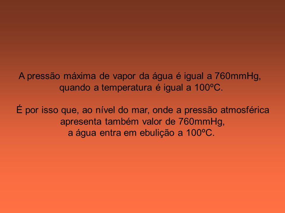 A pressão máxima de vapor da água é igual a 760mmHg,