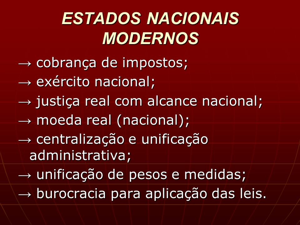 ESTADOS NACIONAIS MODERNOS
