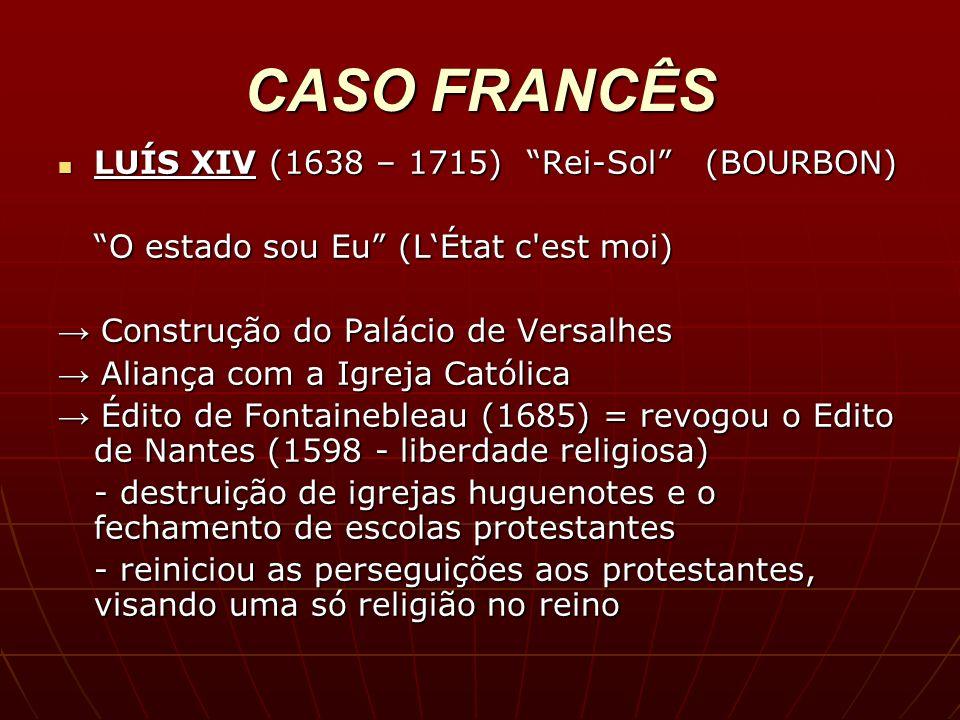 CASO FRANCÊS LUÍS XIV (1638 – 1715) Rei-Sol (BOURBON)