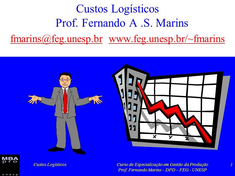 Custos Logísticos Prof. Fernando A .S. Marins