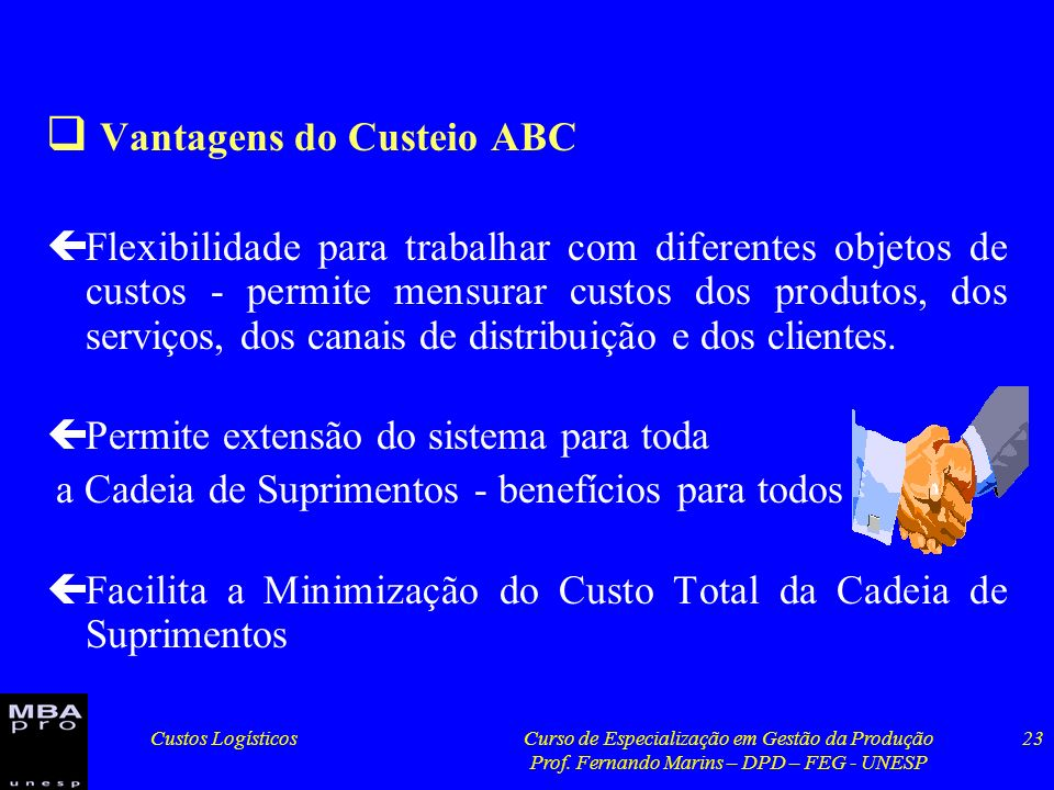 Vantagens do Custeio ABC