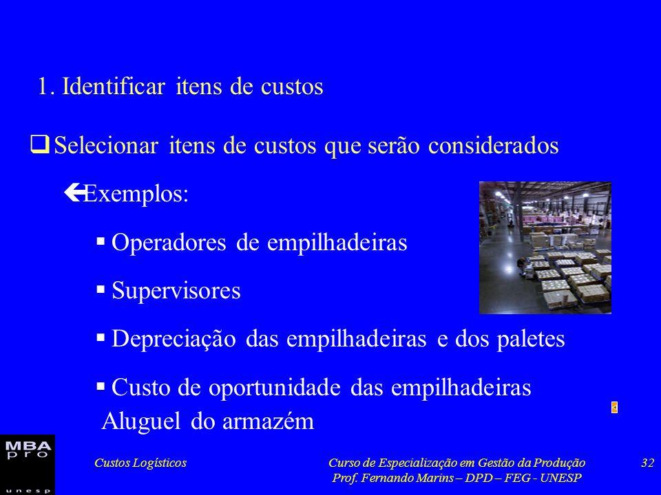 1. Identificar itens de custos