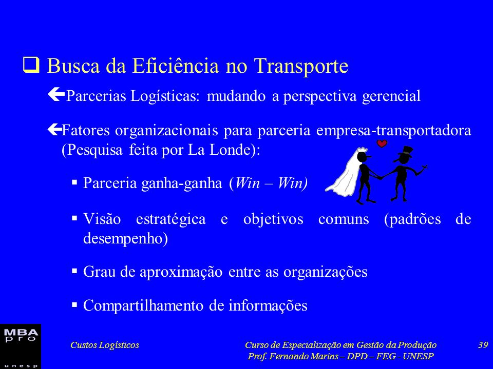 Busca da Eficiência no Transporte