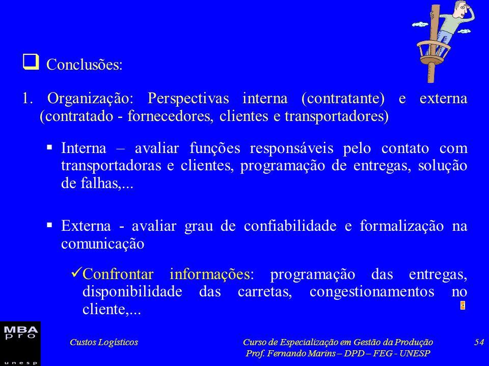 Conclusões: 1. Organização: Perspectivas interna (contratante) e externa (contratado - fornecedores, clientes e transportadores)