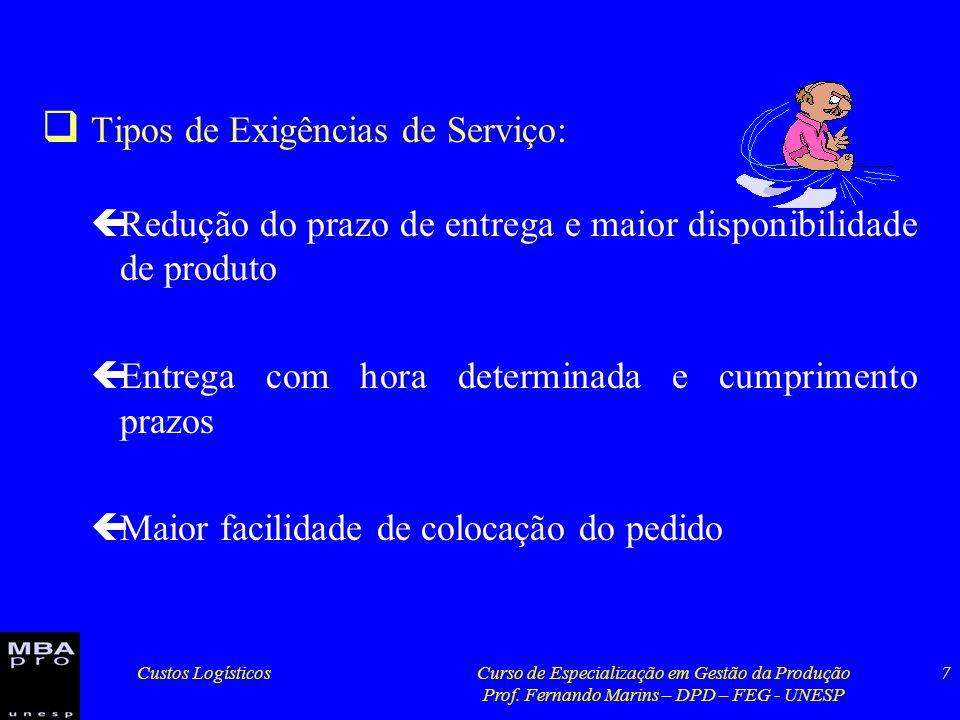 Tipos de Exigências de Serviço: