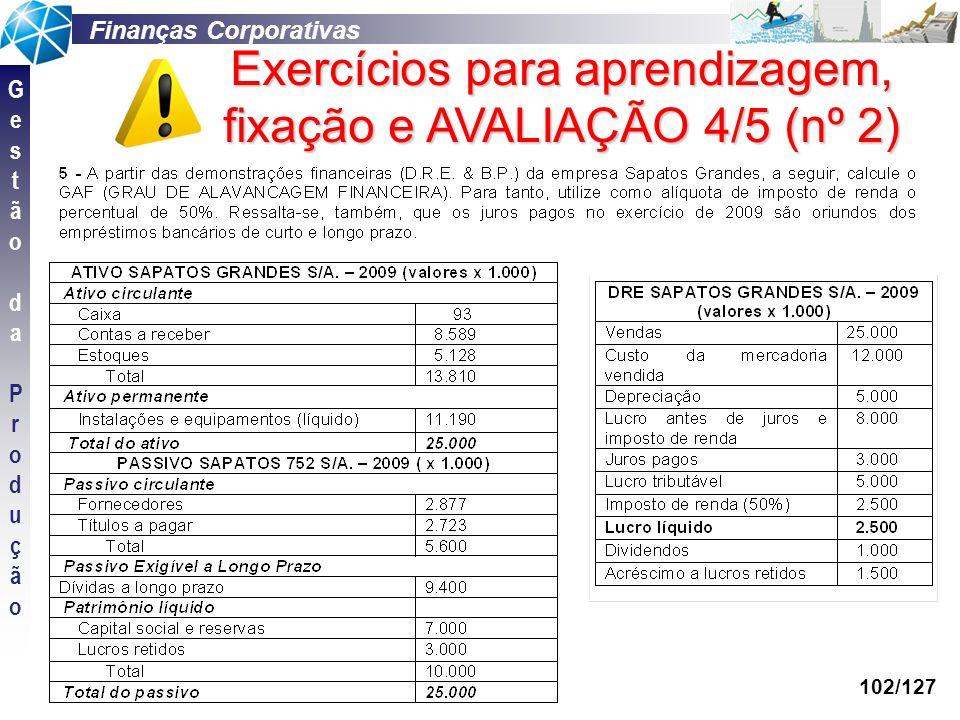 Exercícios para aprendizagem, fixação e AVALIAÇÃO 4/5 (nº 2)