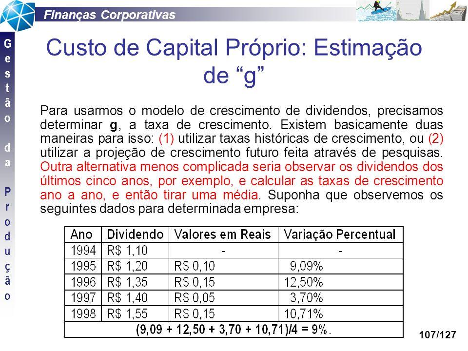 Custo de Capital Próprio: Estimação de g