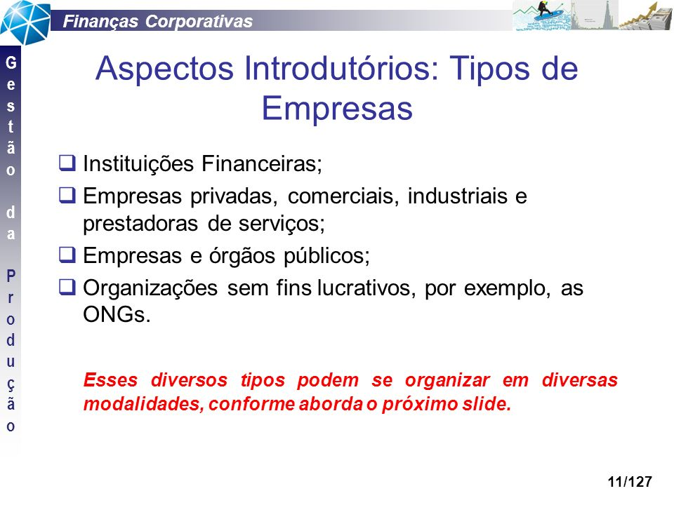 Aspectos Introdutórios: Tipos de Empresas