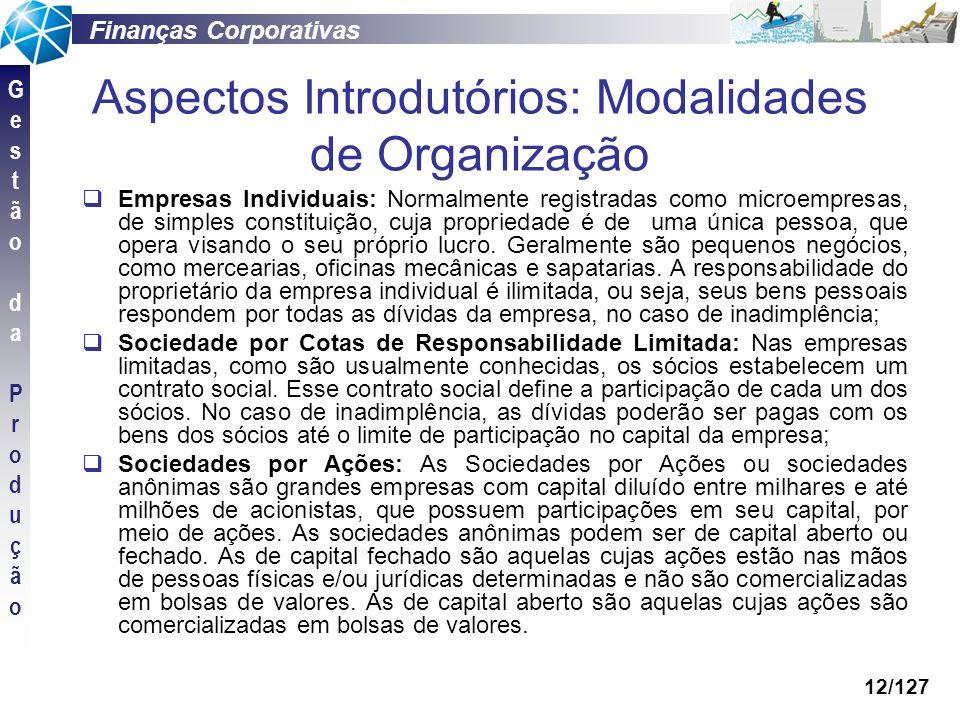 Aspectos Introdutórios: Modalidades de Organização