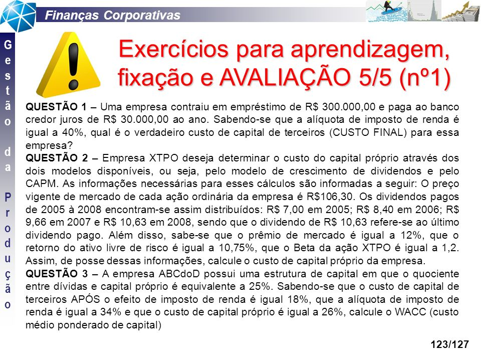Exercícios para aprendizagem, fixação e AVALIAÇÃO 5/5 (nº1)