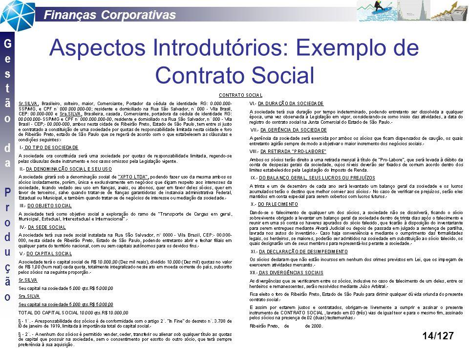 Aspectos Introdutórios: Exemplo de Contrato Social