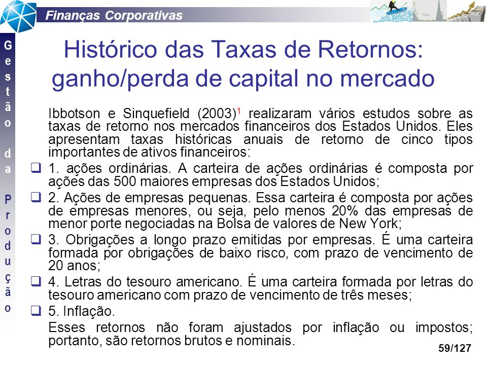 Histórico das Taxas de Retornos: ganho/perda de capital no mercado