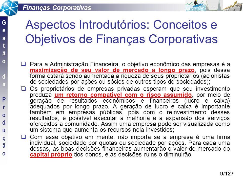 Aspectos Introdutórios: Conceitos e Objetivos de Finanças Corporativas