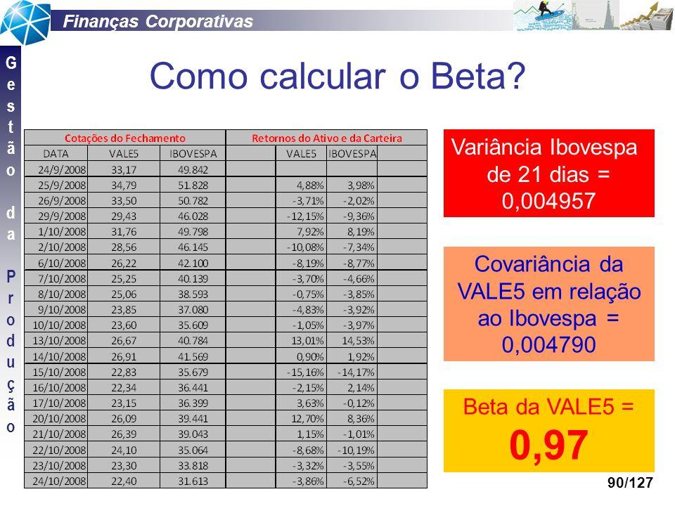 Covariância da VALE5 em relação ao Ibovespa =