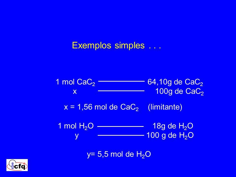 Exemplos simples . . . 1 mol CaC2 64,10g de CaC2 x 100g de CaC2
